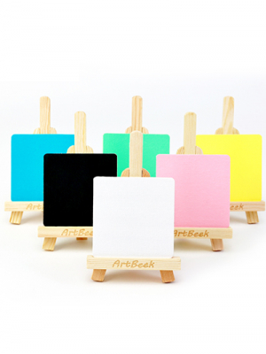 Mini White Acrylic Canvas, with Natural Wood Easel Set