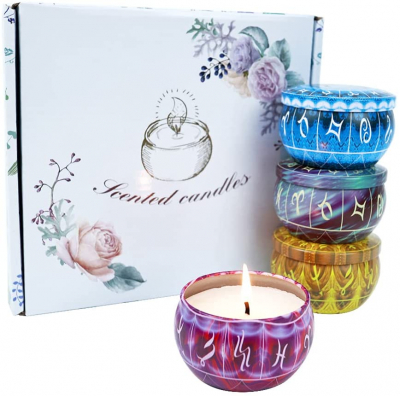 4 Scented Candles Gift Set 2.5oz Strong Fragrance Aromatherapy Candles