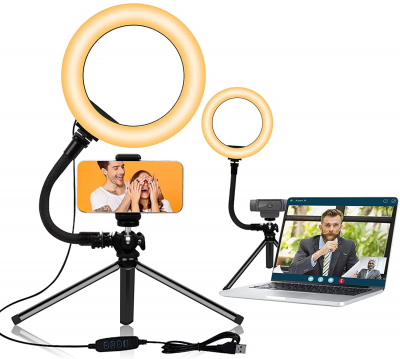 """LED 8"""" Selfie Ring Light with Tripod and Phone Holder for Computer and iPhone"""