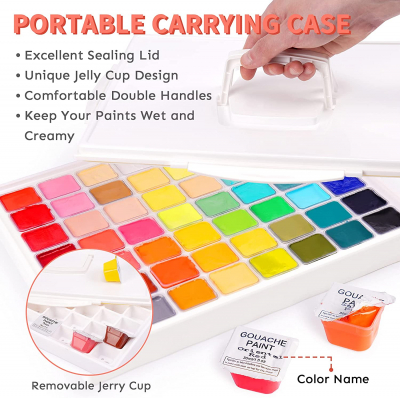 Gouache Paint Set, 56 Colors x 30ml Unique Jelly Cup Design with 12 Art Brushes in a Carrying Case