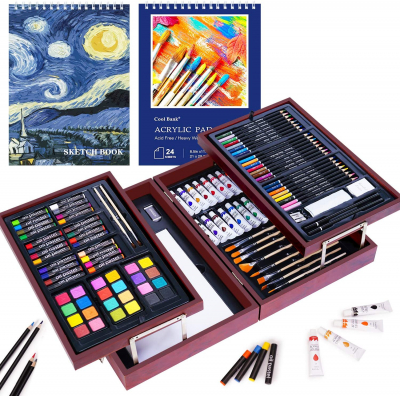 126 Piece Art Set with 2 Drawing Pad, Art Set in Portable Wooden Case