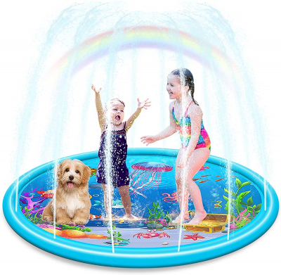 """Durable 68"""" LargeSprinkler Play Mat for Kids, Vivid Underwater World Pattern InflatableSwimming Pool"""