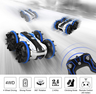 Amphibious Remote Control Car for Boys, 4WD Double Sided 360° Rotating Off-Road