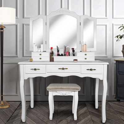 Makeup Dress Table with Cushioned Stool Set