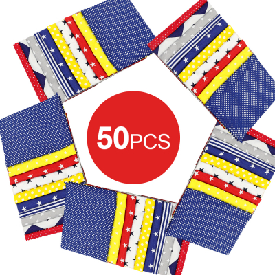 50 Pcs Mixed Pattern 100% Cotton Fabric for Sewing Quilting Patchwork DIY Craft Mask