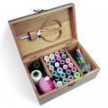 Sewing Kit Box Basket, Wooden Hand Home Sewing Repair Tool Kit, Universal Sew Kit Accessories for Women, Men, Adults, Girls Vintage