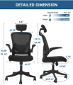 Ergonomic Office Chair High Back Mesh Chair with Lumbar Support and Flip-up Armrest