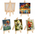 20 Pack Mini Stretched Canvas with Wooden Easel, 4x4 Inch