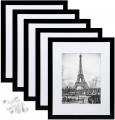 11x14 Picture Frame Set of 5,Display Pictures 8x10 with Mat or 11x14 Without Mat