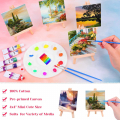 60 Pieces Mini Canvas Painting Set Includes 4x4 Inches Small Tiny Painting Canvas, Mini Easel, Acrylic Paint, Paintbrushes