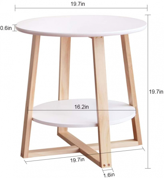 2 Tier Round Waterproof Sofa Table with Storage Rack Snack Table