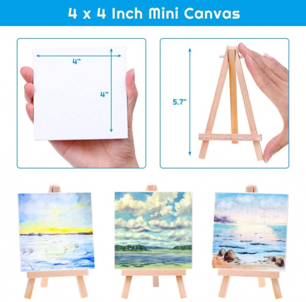 Small Painting Canvas with Mini Easel 4x4 Inches