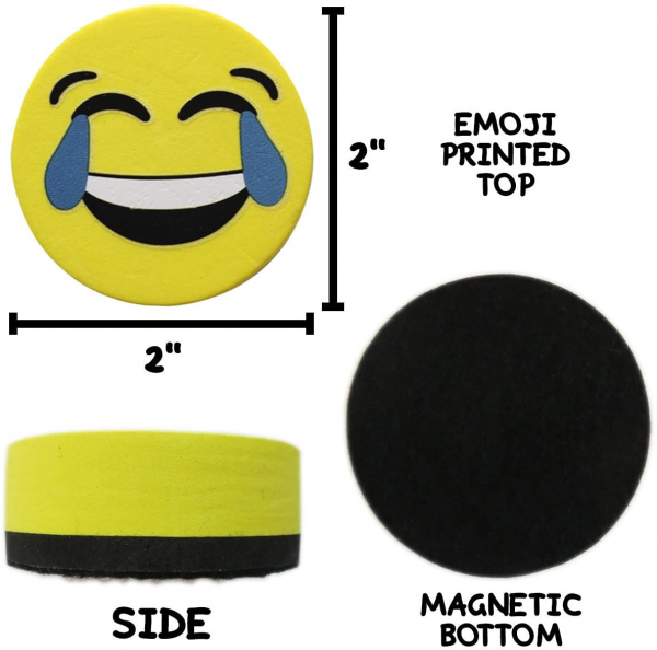 Magnetic Smiley Face Circular Whiteboard Eraser, 4 Pack of 2 inch