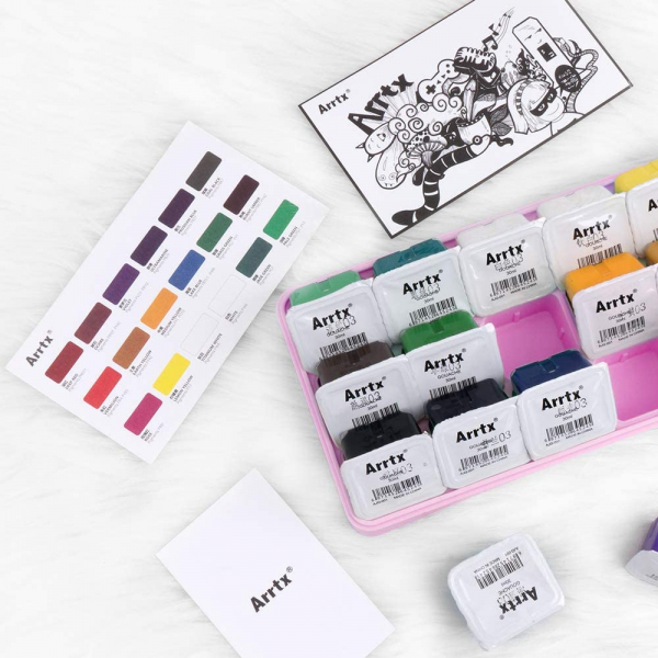 Gouache Paint, 18 Colors Jelly Cup Design Large Amount Durable and Easy to Use with Mix Palette
