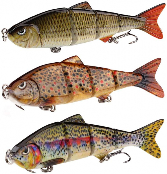3Pcs Fishing Lure Artificial Pike Lure Bait Multi Jointed Bait