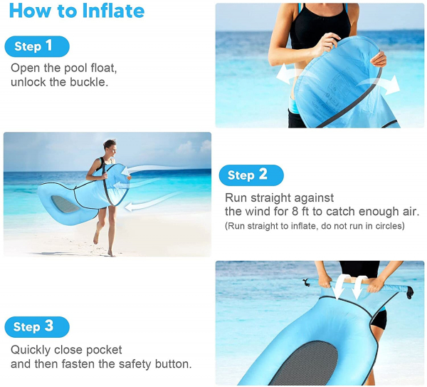Inflatable Swimming Pool Floats for Adult, No Pump Required