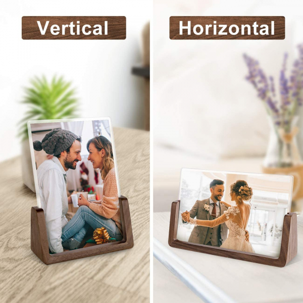 Rustic Wooden Photo Frames with Walnut Wood Base and High Definition Break Free Acrylic Glass Covers(4x6 inch, Horizontal + Vertical)