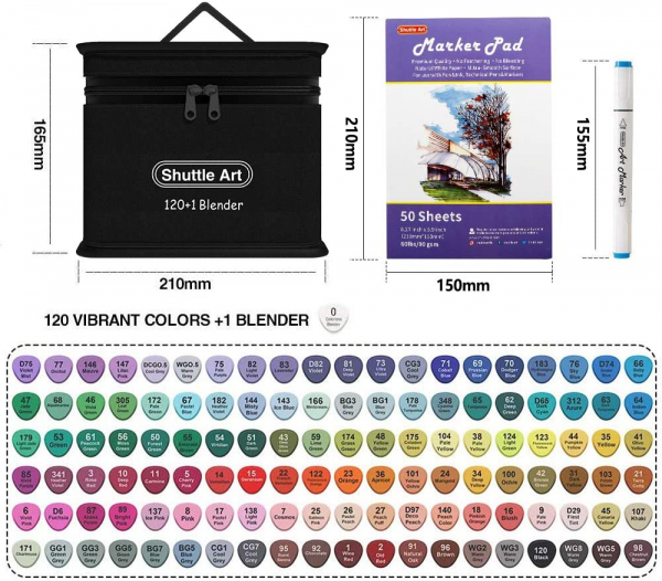 121 Colors Dual Tip Alcohol Based Art Markers
