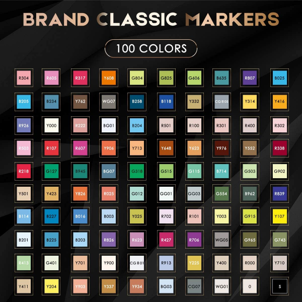 100 Colors Artist Alcohol Dual Tip Art Markers