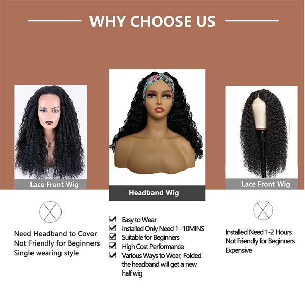 Long Curly Headband Wigs for Black Women with Wig Cap