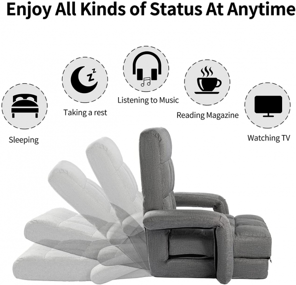 Folding Floor Sofa Folding Video Gaming Chair with Protector Legs Arm Rest and Back Support