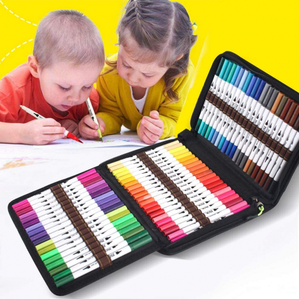 60 Colors Dual Tips Fine Tip Markers Set with Coloring Book