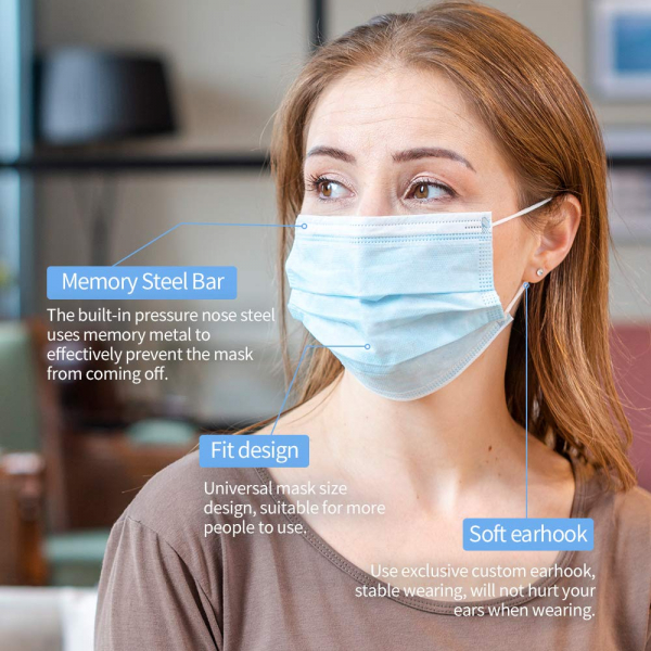 30 PCS Disposable Face Masks 3 Ply Safety Mask