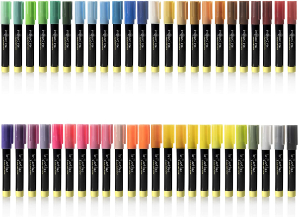 48 Pack Liquid Chalk Markers - Neon, Metallic, and White Included