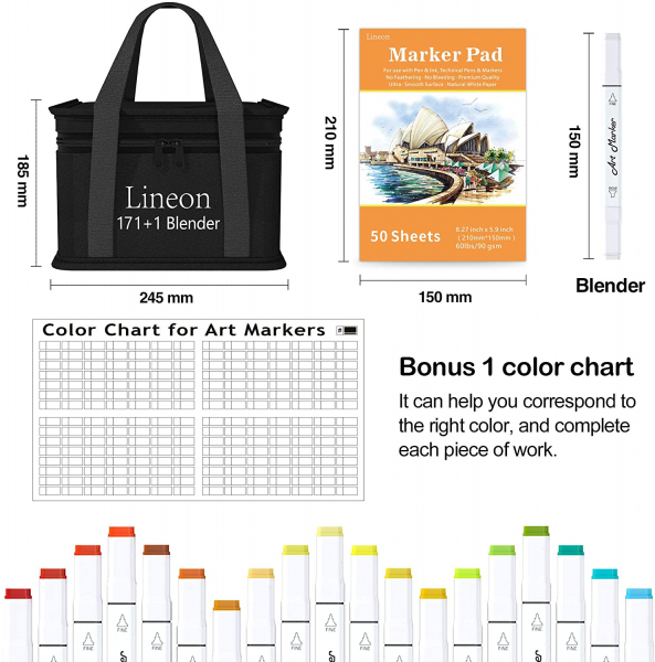 172 Colors Alcohol Based Dual Tip Art Markers