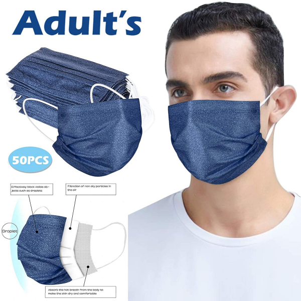 50pc Disposable Face Masks for Adults 3-ply Non-Woven Fabric