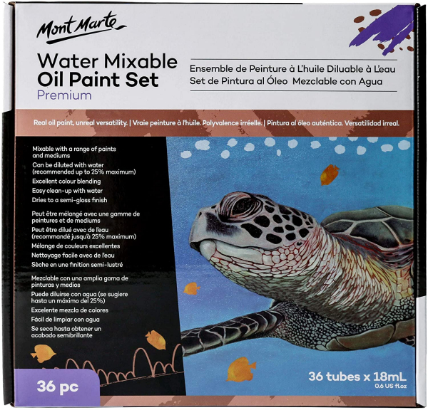 36 Piece Water Mixable Oil Paint Set, 18ml Tubes