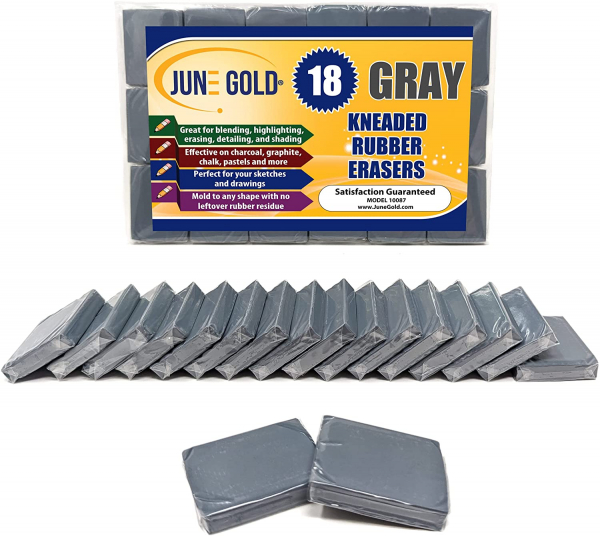 June Gold Kneaded Rubber Erasers, Gray, 18 Pack