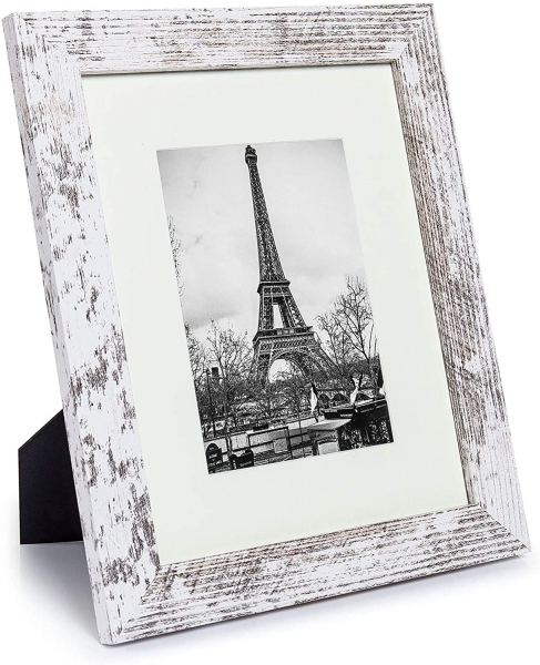 8x10 Picture Frame Distressed White with Real Glass,Display Pictures 5x7 with Mat or 8x10 Without Mat, Set of 6