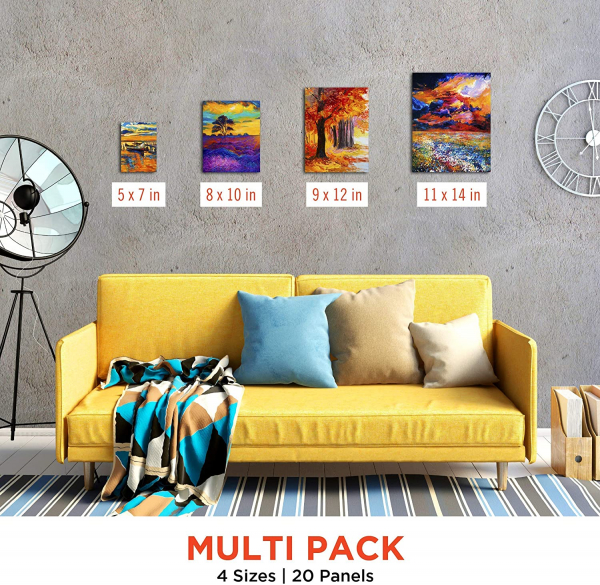 20 Pack Blank Canvas Panels - 5x7, 8x10, 9x12, 11x14 inch (5 Each) - 100% Cotton, Primed, Acid Free